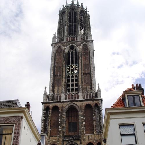 Domtoren Van Utrecht Man Springt Van Domtoren